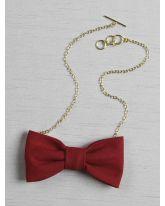 Linen Look Bow Tie Necklace
