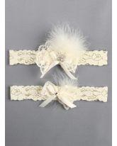 Feather Brooch Garter Set
