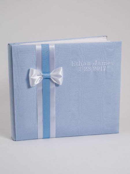 Baby Personalized 12 x 12 Blue Moire Album w/Swiss Dots