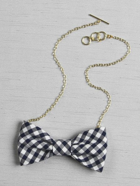 Gingham Bow Tie Nekclace