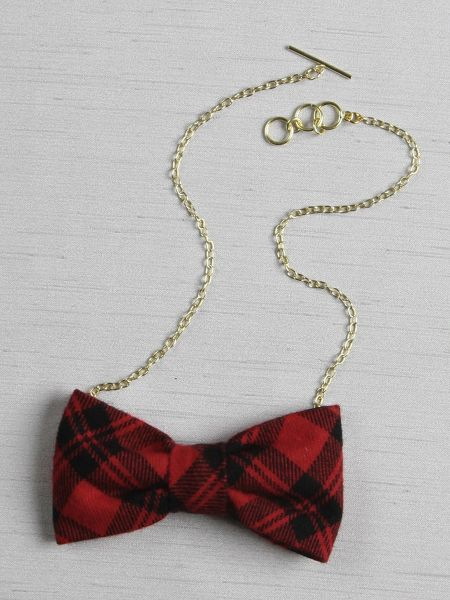 Plaid Bow Tie Necklace, Red