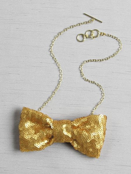 Matte Sequin Bow Tie Necklace