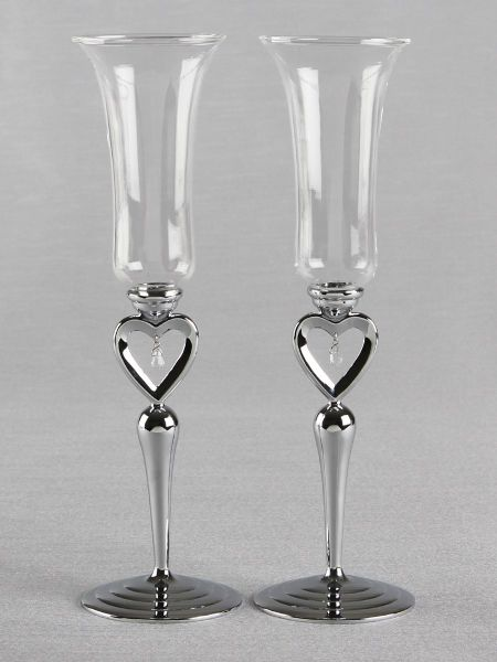 Silver Heart Toasting Flutes Set