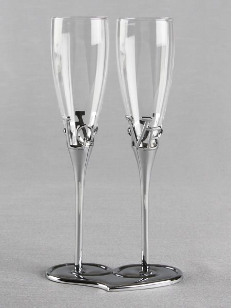 LOVE Toasting Flutes and Base