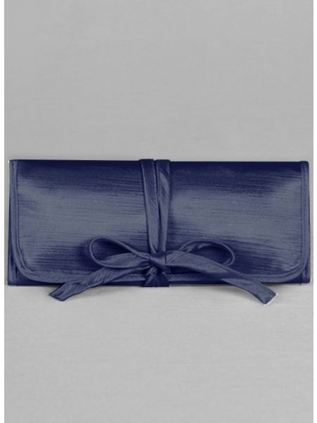 Novia Embroidered Jewelry Roll-Navy
