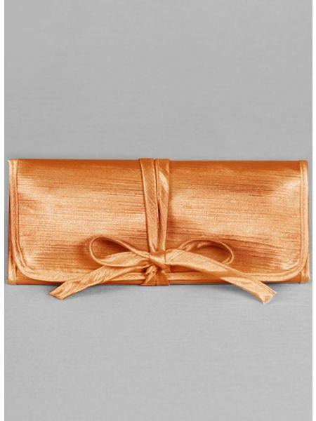 Novia Embroidered Jewelry Roll-Orange