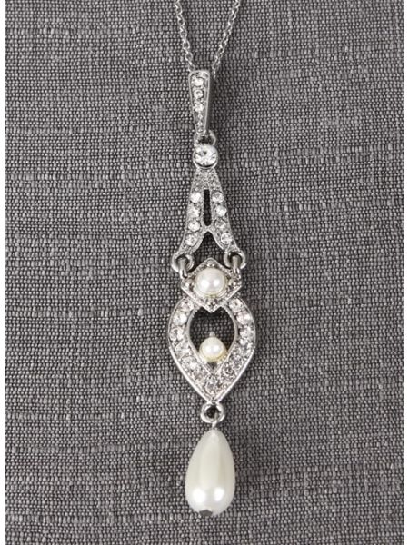 Tiered Pendant Necklace with Dangling Pearl