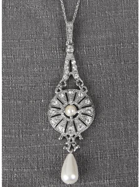 Crystal & Pearl Drop Pendant