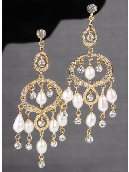 Rhinestone & Pearl Chandelier Earrings