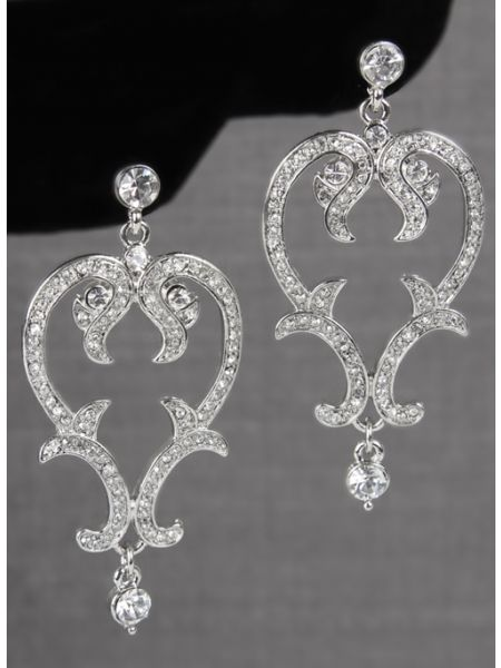 Crystal Scroll Earrings