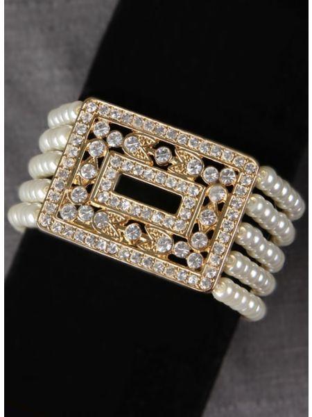 Pearl w/Crystal Ornament Bracelet