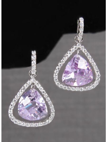 Pearl Stone Earrings with Rhinestone Edge
