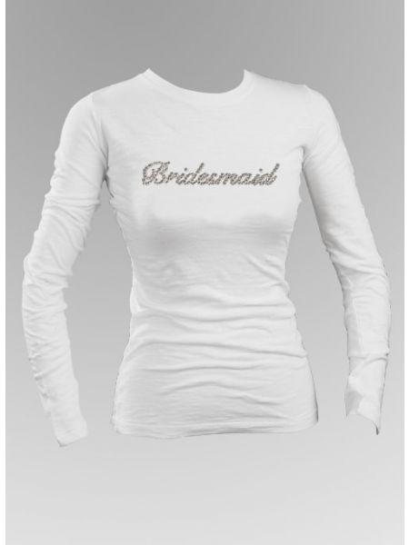 Bridesmaid Rhinestone Long Sleeve Top