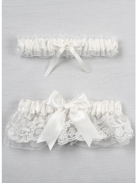 Chantilly Lace  Bridal Garter Set, White