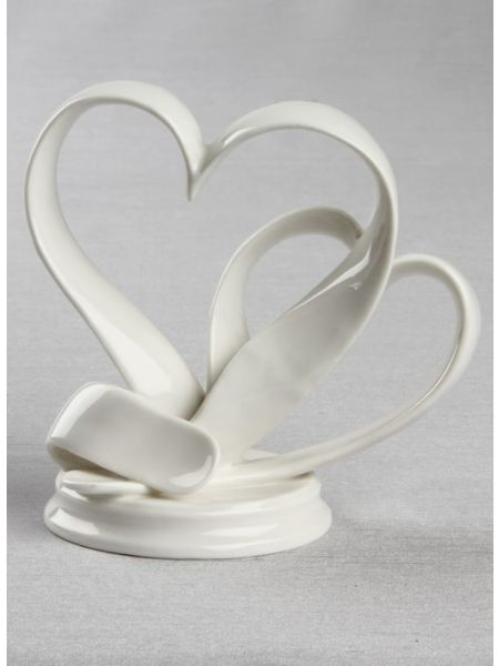 Porcelain Double Hearts Cake Top