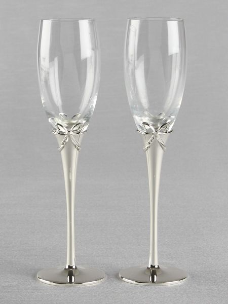 Bow on Stem w/Crystals Toasting Flutes