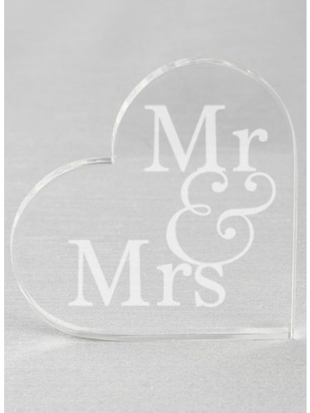 Mr & Mrs Acrylic Heart Cake Top
