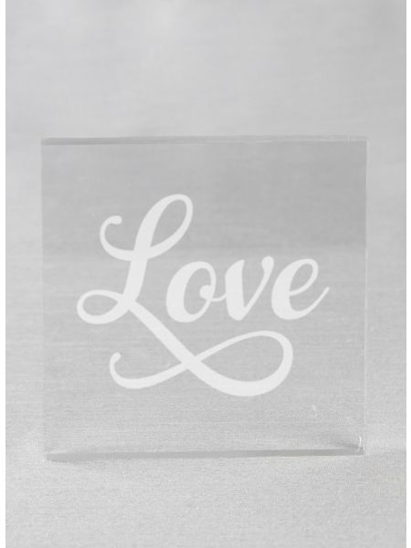 LOVE Acrylic Square Cake Top