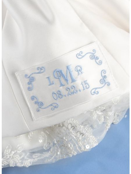 Flourish Border Monogram Dress Label, Ivory