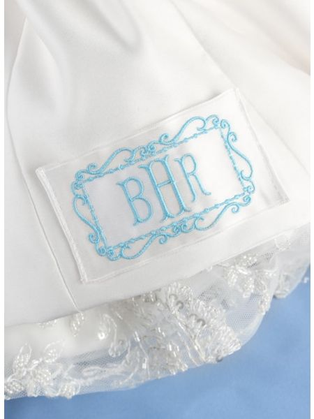Monogram Frame Border Dress Label, White