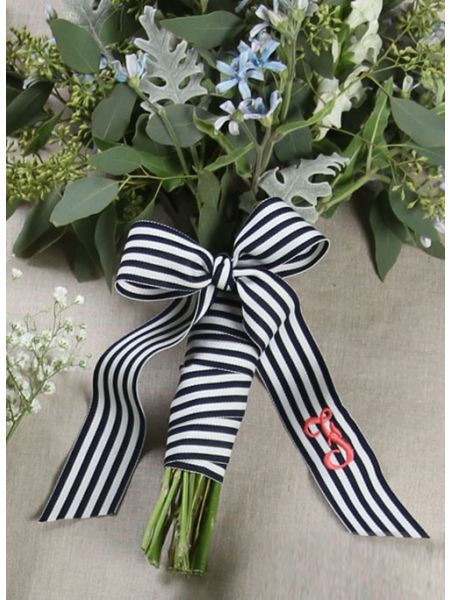 Grosgrain Stripe Bouquet Wrap with Tails
