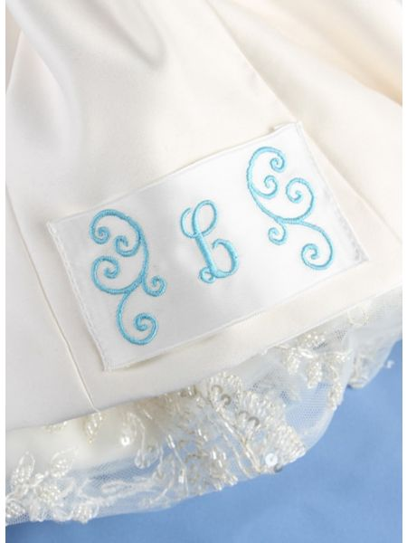 Dress Label, Single Initial w/Flourish, White