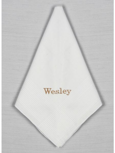 Embroidered Cotton Stripe Handkerchief