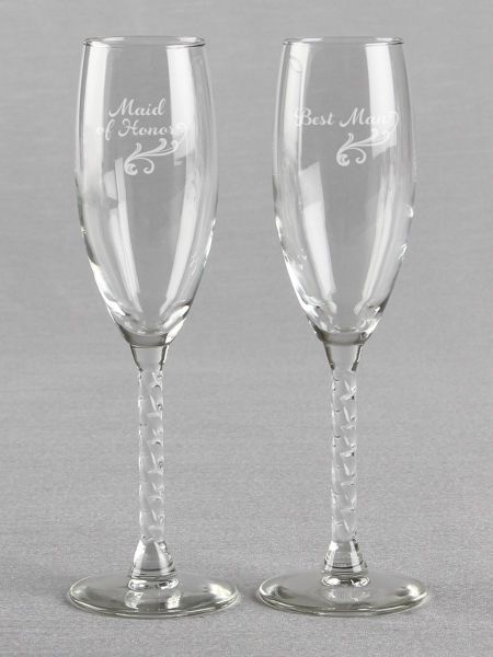 Maid of Honor & Best Man Toasting Flutes