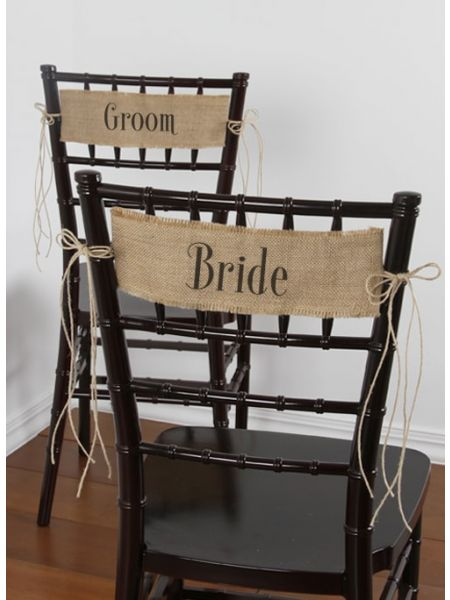 Bride and Groom Burlap Chair Sashes