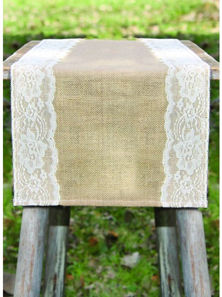 Thick Lace Burlap Table Runner