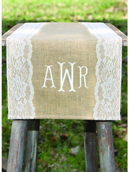 Monogram Embroidered Burlap Table Runner w/Wide Lace Edge