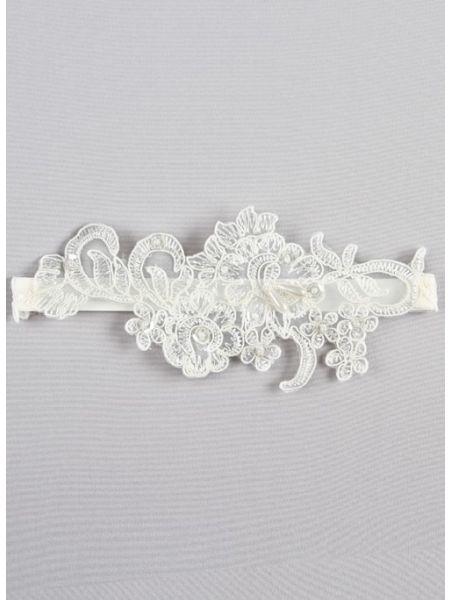 Aria Applique Garter, Ivory
