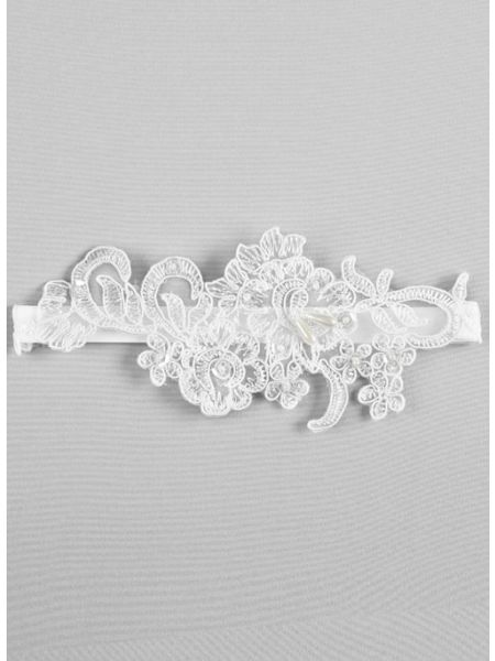 Aria Applique Garter, White