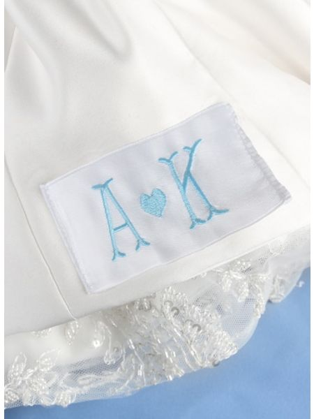 Initials & Heart Dress Label, White