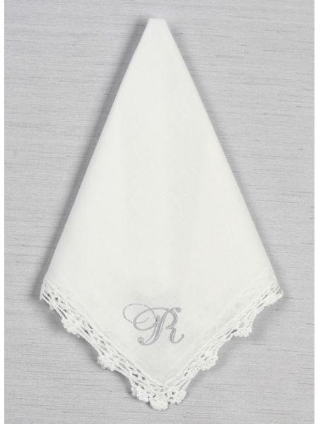Single Initial Crochet Lace Handkerchief
