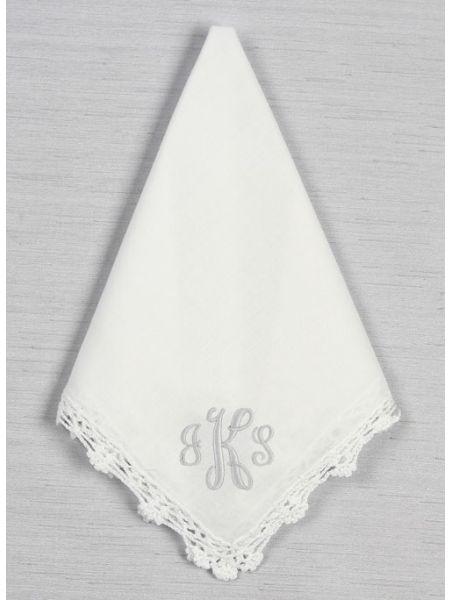 Monogram Crochet Lace Handkerchief