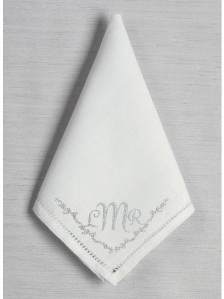 Monogram w/Border Hemstich Handkerchief