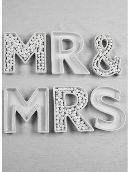 MR & MRS Letter Dish Set