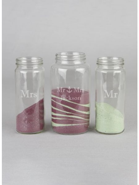 Mr & Mrs w/Anchor Cylinder Jar Set