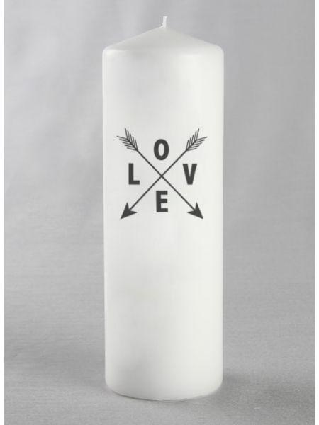 LOVE w/Arrows Pillar Candle