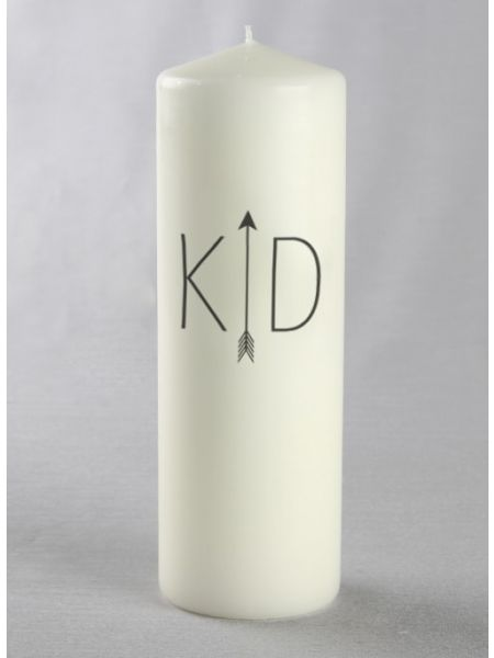 Initials w/Arrow Pillar Candle