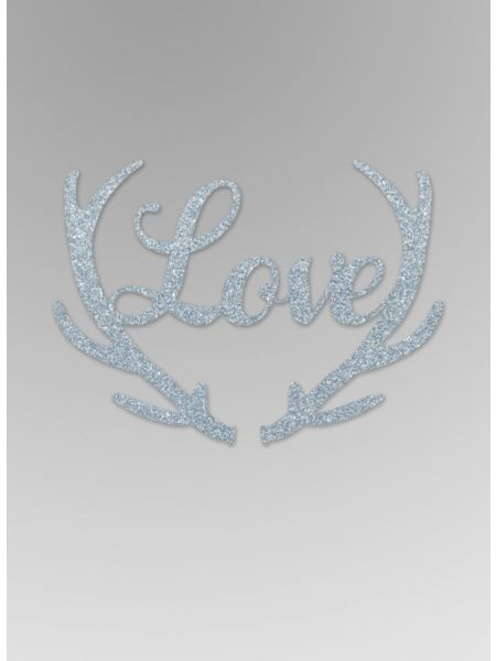 Love with Antlers Glitter Word