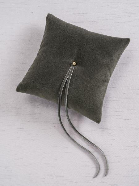 Velvet Ring Pillow - Grey
