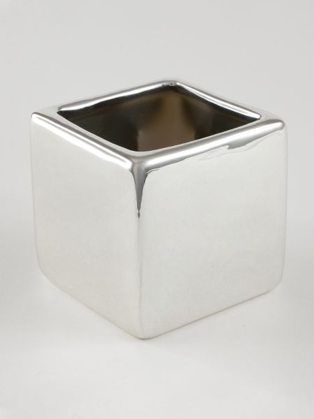 Plain Square Flower Pot 5 pk. - Silver