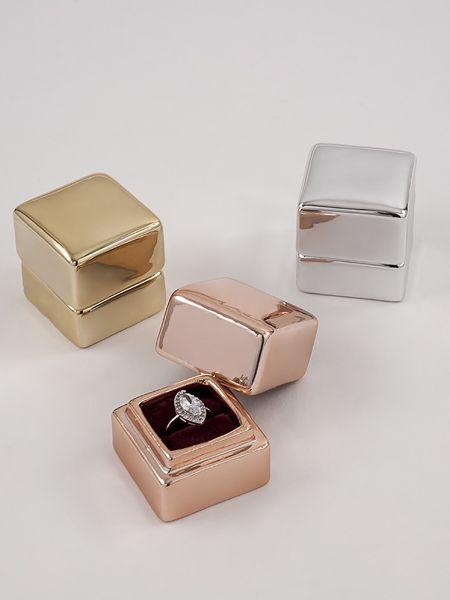 Metallic Electroplate Ring Box