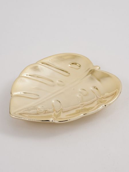 Leaf Metallic Trinket Dish
