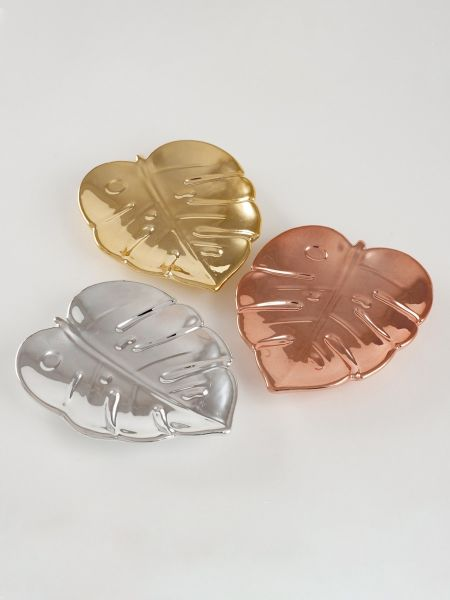 Leaf Metallic Electroplate Dish