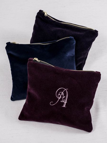 Embroidered Velvet Cosmetic Bag