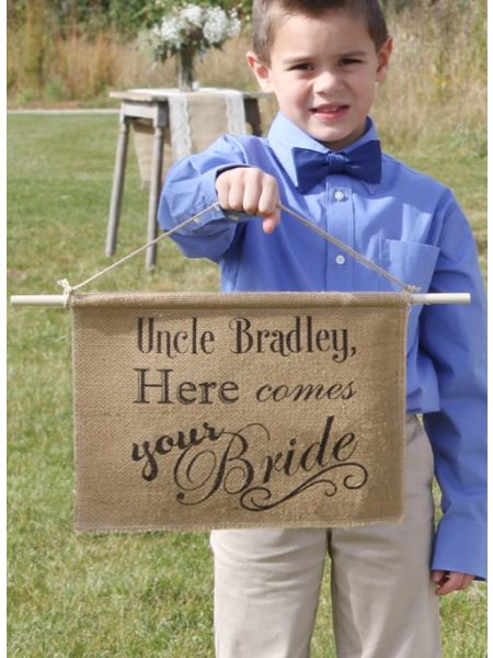 Here Comes your Bride Burlap Sign