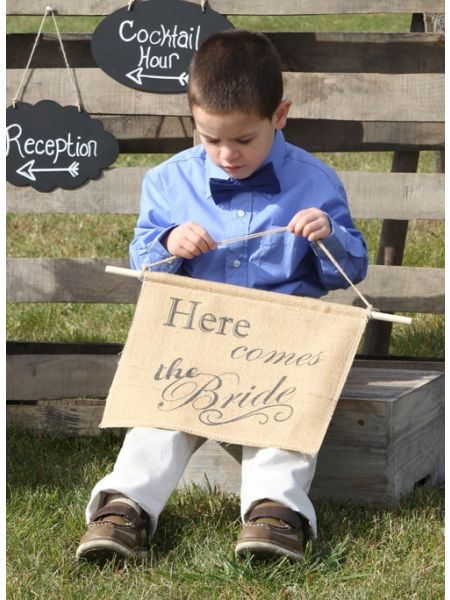 Here Comes The Bride Burlap Sign